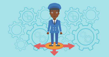 hesitate: An african-american young woman standing on three alternative ways on a blue background with cogwheels. Concept of career choices. Vector flat design illustration. Horizontal layout. Illustration