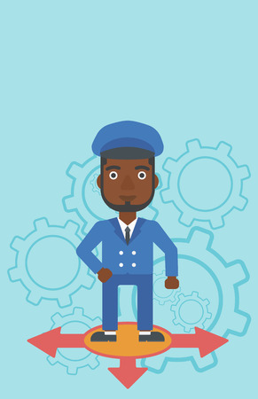 An african-american man standing on three alternative ways on a blue background with cogwheels. Concept of career choices. Vector flat design illustration. Vertical layout. Illustration
