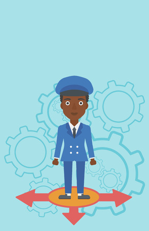 career choices: An african-american young woman standing on three alternative ways on a blue background with cogwheels. Concept of career choices. Vector flat design illustration. Vertical layout.