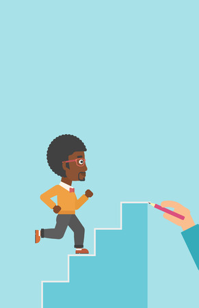 career up: An african-american businessman running up the stairs drawn by hand with pencile. Concept of business career. Vector flat design illustration. Vertical layout.