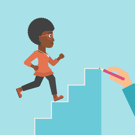 career up: An african-american young business woman running up the stairs drawn by hand with pencile. Concept of business career. Vector flat design illustration. Square layout.