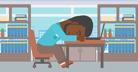 An african-american tired businessman sleeping on laptop keyboard in the office. Businessman resting at workplace. Vector flat design illustration. Horizontal layout.