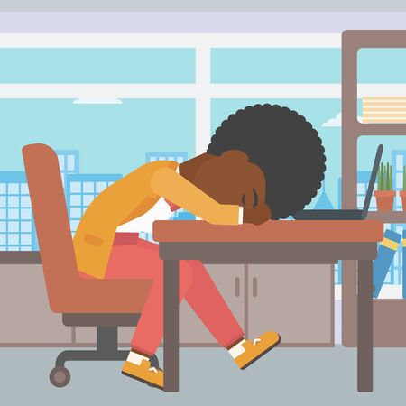 energy work: An african-american tired business woman sleeping on laptop keyboard in the office. Young business woman resting at workplace. Vector flat design illustration. Square layout. Illustration
