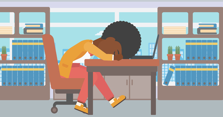 An african-american tired business woman sleeping on laptop keyboard in the office. Young business woman resting at workplace. Vector flat design illustration. Horizontal layout.