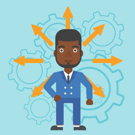 An african-american man with many arrows around his head standing on background with cogwheels. Concept of career choices. Vector flat design illustration. Square layout. Illustration