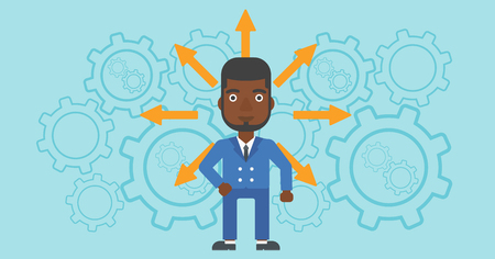 hesitate: An african-american man with many arrows around his head standing on background with cogwheels. Concept of career choices. Vector flat design illustration. Horizontal layout.