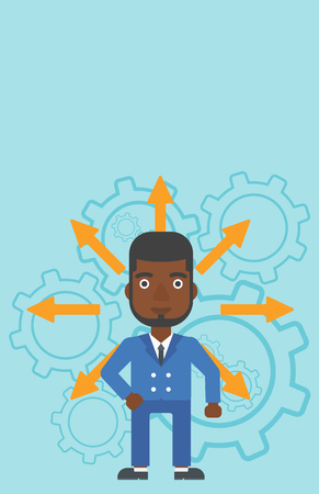 career choices: An african-american man with many arrows around his head standing on background with cogwheels. Concept of career choices. Vector flat design illustration. Vertical layout. Illustration