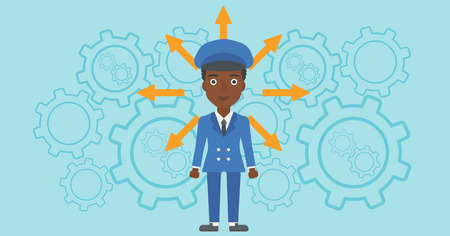 hesitate: An african-american young woman with many arrows around her head standing on a blue background with cogwheels. Concept of career choices. Vector flat design illustration. Horizontal layout.