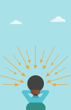 Rear view of an african-american sitting man with some arrows poinded to his head. Vector flat design illustration. Vertical layout.