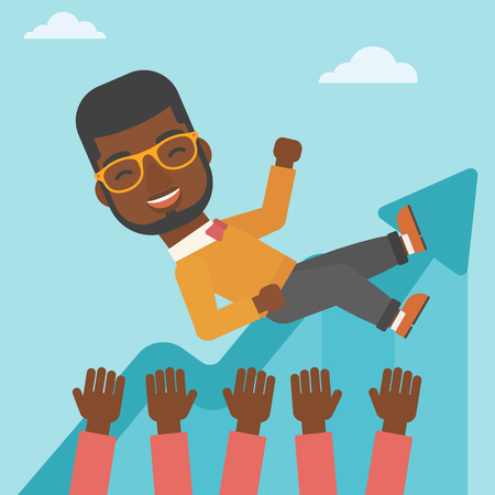 An african-american young businessman get thrown into the air by coworkers during celebration. Successful business concept. Vector flat design illustration. Square layout. Ilustração