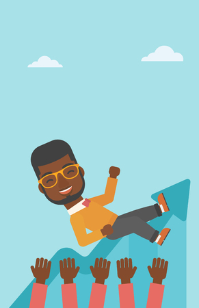 hands lifted up: An african-american young businessman get thrown into the air by coworkers during celebration. Successful business concept. Vector flat design illustration. Vertical layout.