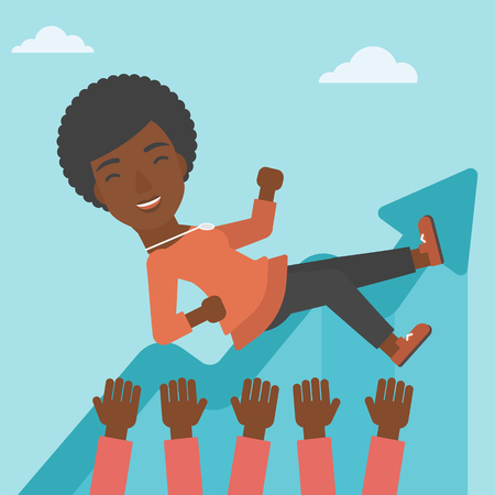 An african-american young business woman get thrown into the air by coworkers during celebration. Successful business concept. Vector flat design illustration. Square layout.