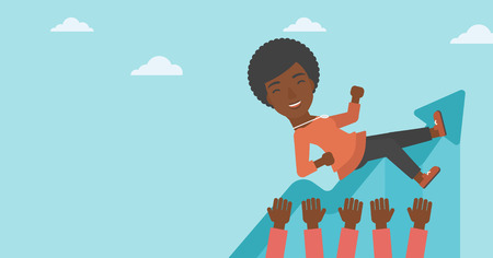 An african-american young business woman get thrown into the air by coworkers during celebration. Successful business concept. Vector flat design illustration. Horizontal layout.