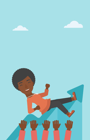 An african-american young business woman get thrown into the air by coworkers during celebration. Successful business concept. Vector flat design illustration. Vertical layout.