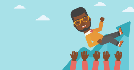 An african-american young businessman get thrown into the air by coworkers during celebration. Successful business concept. Vector flat design illustration. Horizontal layout. Ilustração