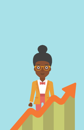 business woman standing: An african-american young business woman standing behind growing chart. Successful business concept. Vector flat design illustration. Vertical layout.