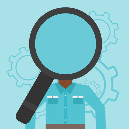 An african-american man with magnifier instead of head standing on a blue background with cogwheels. Concept of staff recruitment. Vector flat design illustration. Square layout. Stock Illustratie