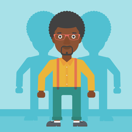 stand out from the crowd: An african-american young man standing with some shadows behind him. Candidat for a position stand out from crowd. Concept of staff recruitment. Vector flat design illustration. Square layout.