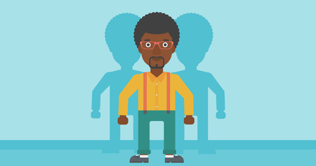 stand out from the crowd: An african-american young man standing with some shadows behind him. Candidat for a position stand out from crowd. Concept of staff recruitment. Vector flat design illustration. Horizontal layout. Illustration