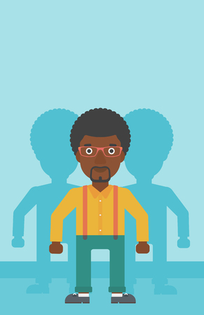 stand out: An african-american young man standing with some shadows behind him. Candidat for a position stand out from crowd. Concept of staff recruitment. Vector flat design illustration. Vertical layout. Illustration