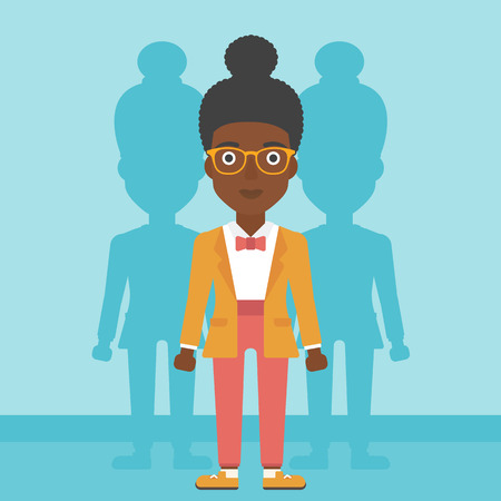 stand out from the crowd: An african-american young woman standing with some shadows behind her. Candidat for a position stand out from crowd. Concept of staff recruitment. Vector flat design illustration. Square layout. Illustration