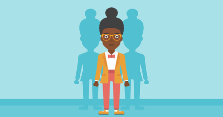 stand out from the crowd: An african-american young woman standing with some shadows behind her. Candidat for a position stand out from crowd. Concept of staff recruitment. Vector flat design illustration. Horizontal layout.