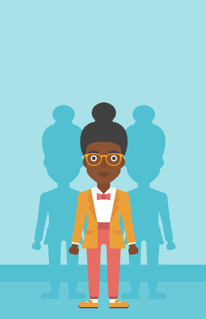 stand out from the crowd: An african-american young woman standing with some shadows behind her. Candidat for a position stand out from crowd. Concept of staff recruitment. Vector flat design illustration. Vertical layout.
