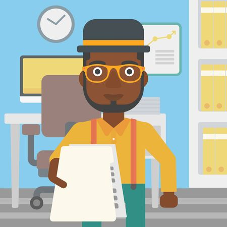 employer: An african-american young businessman giving a resume in office. Man giving to the employer his curriculum vitae. Job interview concept. Vector flat design illustration. Square layout.