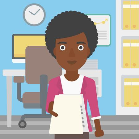 Una mujer de negocios afroamericano joven que da una hoja de vida en la oficina. Mujer que da al empleador su curriculum vitae. Concepto de trabajo. Vector de diseño plano ilustración. de planta cuadrada. Foto de archivo - 59698154