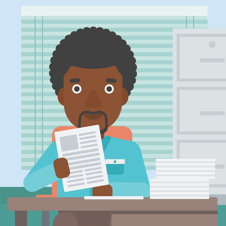 human resources manager: An african-american young human resources manager reading application portfolios in the office. Concept of recruitment of staff, job interview. Vector flat design illustration. Square layout. Illustration
