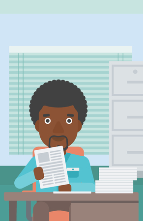 job application: An african-american young human resources manager reading application portfolios in the office. Concept of recruitment of staff, job interview. Vector flat design illustration. Vertical layout.