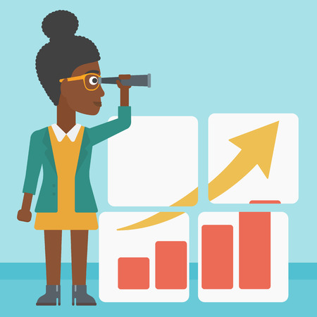 woman searching: An african business woman looking through a spyglass at chart. Woman searching opportunities for business growth. Business vision concept. Business vector flat design illustration. Square layout. Illustration