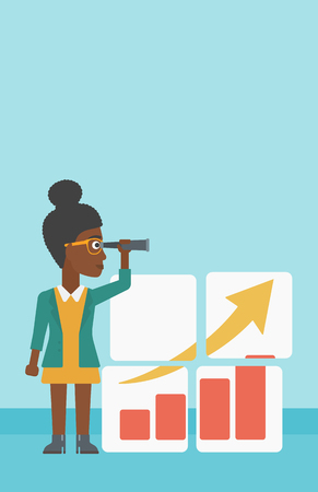 job opportunity: An african business woman looking through a spyglass at chart. Woman searching opportunities for business growth. Business vision concept. Business vector flat design illustration. Vertical layout.
