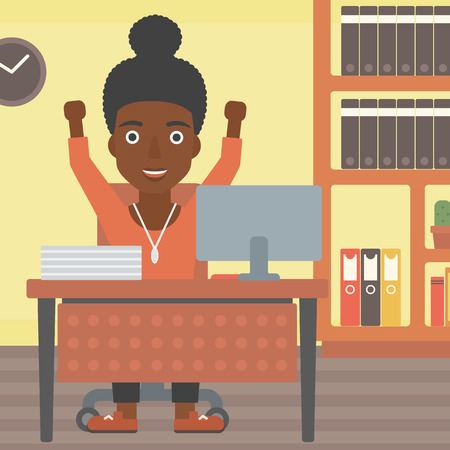 woman arms up: An african-american young business woman celebrating with arms up while sitting at the table in office. Successful business concept. Vector flat design illustration. Square layout.