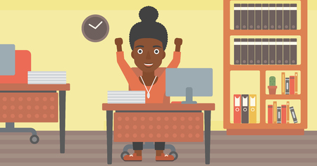 woman arms up: An african-american young business woman celebrating with arms up while sitting at the table in office. Successful business concept. Vector flat design illustration. Horizontal layout.