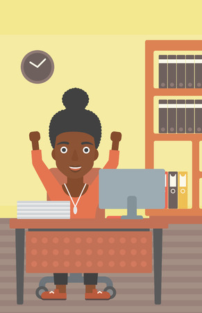 woman arms up: An african-american young business woman celebrating with arms up while sitting at the table in office. Successful business concept. Vector flat design illustration. Vertical layout.