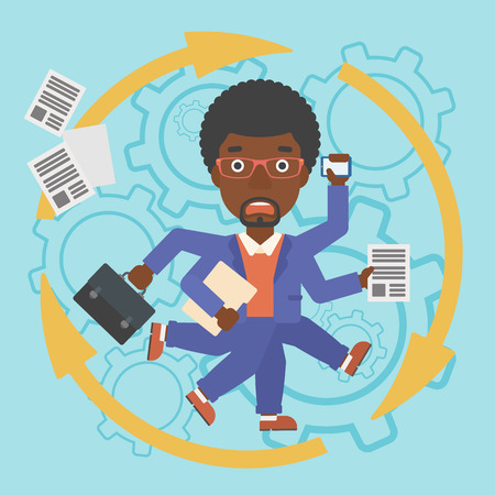 An african-american businessman with many legs and hands holding papers, briefcase, smartphone. Multitasking and productivity concept. Vector flat design illustration. Square layout.