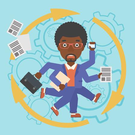 Ein afroamerikanischer Geschäftsmann mit vielen Beinen und Händen halten Papiere, Aktentasche, Smartphone. Multitasking und Produktivität Konzept. Vector flache Design-Illustration. Platz Layout.