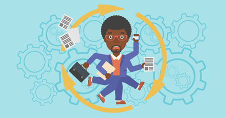 multitasking: An african-american businessman with many legs and hands holding papers, briefcase, smartphone. Multitasking and productivity concept. Vector flat design illustration. Horizontal layout.