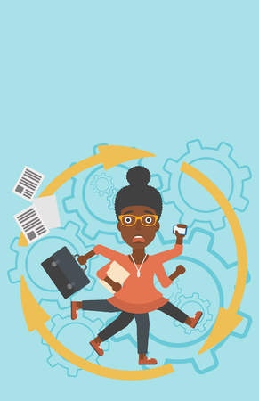 multiple ethnicity: An african-american young business woman with many legs and hands holding papers, briefcase, smartphone. Multitasking and productivity concept. Vector flat design illustration. Vertical layout. Illustration