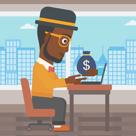 ebusiness: African-american businessman sitting at the table in office and bag of money coming out of his laptop. Online business concept. Vector flat design illustration. Square layout.