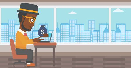 ebusiness: African-american businessman sitting at the table in office and bag of money coming out of his laptop. Online business concept. Vector flat design illustration. Horizontal layout.