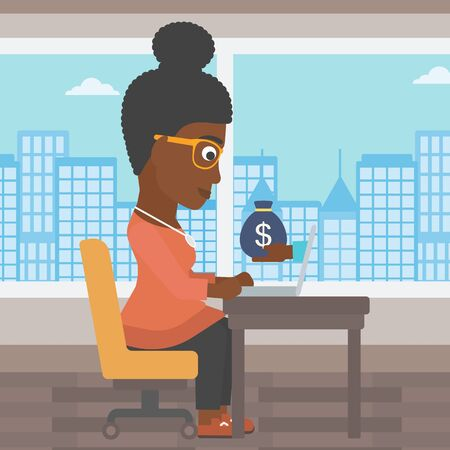 ebusiness: An african-american young business woman sitting at the table in office and a bag of money coming out of her laptop. Online business concept. Vector flat design illustration. Square layout.