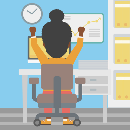 hanging woman: Rear view of successful an african-american business woman with raised hands sitting at workplace and a board with growing chart hanging on the wall. Vector flat design illustration. Square layout. Illustration