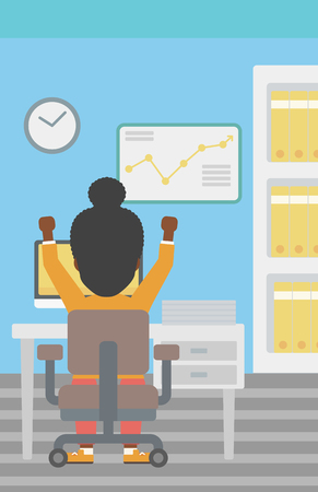 hanging woman: Rear view of successful an african-american business woman with raised hands sitting at workplace and a board with growing chart hanging on the wall. Vector flat design illustration. Vertical layout.