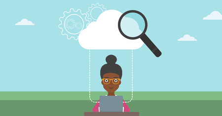 An african-american young business woman working on a laptop and cloud, magnifier and gears above her. Cloud computing concept. Vector flat design illustration. Horizontal layout.