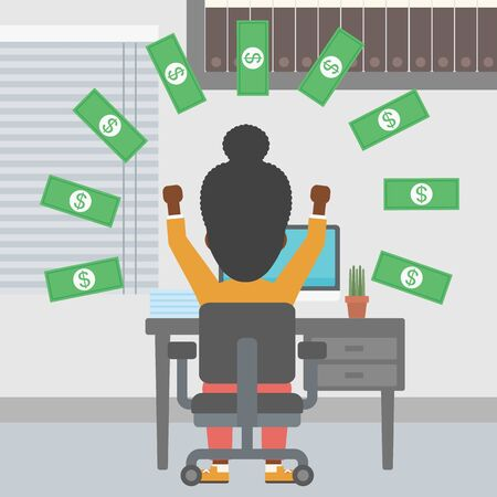 money rain: An african-american business woman with raised hands celebrating while sitting at workplace under money rain. Successful business concept. Vector flat design illustration. Square layout.