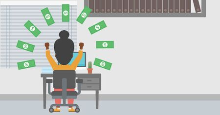 money rain: An african-american business woman with raised hands celebrating while sitting at workplace under money rain. Successful business concept. Vector flat design illustration. Horizontal layout.