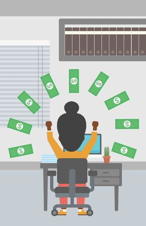 money rain: An african-american business woman with raised hands celebrating while sitting at workplace under money rain. Successful business concept. Vector flat design illustration. Vertical layout. Illustration