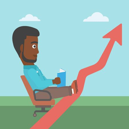 lay: An african-american businessman sitting in a chair and reading a book while his legs lay on an uprising arrow. Business study concept. Vector flat design illustration. Square layout.